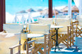 Restaurant on the beach with empty tables Stock Photo