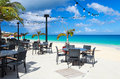 Restaurant at beach seaside beautiful tropical caribbean Stock Photography