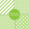 Restaurant or bistro theme. Lush green stripes, dots, cutlery and other shapes. Seamless vector pattern background set Royalty Free Stock Photo