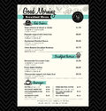 Restaurant breakfast menu design template layout vector Royalty Free Stock Photography