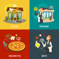 Restaurant or cafe concepts with waiter, pizza and vegetables, cartoon vector illustration Royalty Free Stock Photo