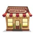 Restaurant or cafe. Exterior building. Vector cartoon illustration