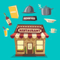 Restaurant or cafe. Exterior building. Vector cartoon illustration