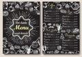 Restaurant chalkboard menu design vector hand drawn illustration