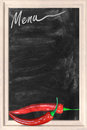 Restaurant chalkboard menu with chili peppers Royalty Free Stock Photography