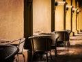 Restaurant with columns tables estaurante between house of eleven windows tourist complex happy lusitania belem brazil Stock Photo