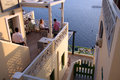 Restaurant in fira santorini a entrance town island greece Stock Images