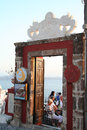 Restaurant in fira santorini a entrance town island greece Royalty Free Stock Photos