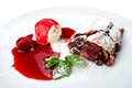 Restaurant food isolated - cherry strudel with ice cream Royalty Free Stock Photo