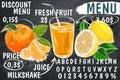 Restaurant Food Menu Design with Chalkboard Background. Chalkboard coffee and desserts menu list designs set for cafe or