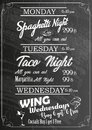 Restaurant Food Menu Design with Chalkboard Background
