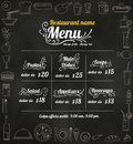 Restaurant Food Menu Design with Chalkboard Background vector fo