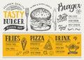 Restaurant food menu, template design.