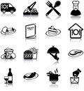 Restaurant icons related silhouettes Stock Images
