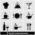 Restaurant icons set a of food and Royalty Free Stock Photos