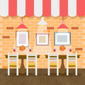 Restaurant interior with bricks wall