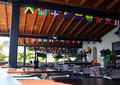 Restaurant interior with flags Royalty Free Stock Photo