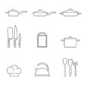 Restaurant kitchen and cooking icons Royalty Free Stock Photo