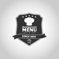 Restaurant label shield with chef cap and ribbon for menu emblem Royalty Free Stock Photos