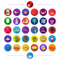 Restaurant, leisure, business and other web icon in flat style. music, travel, toys, icons in set collection.