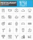 Restaurant line icons set, outline vector symbol collection