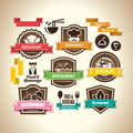Restaurant logos collection of vintage retro grunge food beverage and labels badges and icons Royalty Free Stock Photo