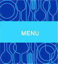 Restaurant menu with a background in blue -2 Stock Image