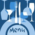 Restaurant menu cover with dishware in blue colors for design Stock Photos