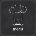 Restaurant menu design for with chef s hat and moustache in chalkboard style Stock Images