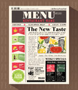 Restaurant Menu Design Template in Newspaper style