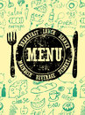 Restaurant menu design. Typographical retro poster with stamp and hand-drawn food. Vector illustration.