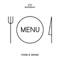Restaurant menu monochrome with plate knife and fork Stock Images