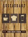 Restaurant menu over wooden background illustration Royalty Free Stock Images
