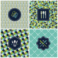 Restaurant menu seamless pattern vector set patterns in blue and green Stock Image