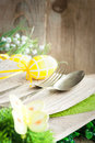 Restaurant menu series. Easter place setting. Royalty Free Stock Photo