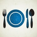 Restaurant menu vector illustration of blue symbol on light retro background Royalty Free Stock Image