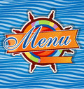 Restaurant menu whit rudder on sea background Stock Photography