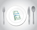 Restaurant money illustration design over a white background Stock Photography