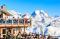 Restaurant in the mountains.Ski Resort Courchevel Royalty Free Stock Photo