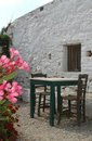 Restaurant next to ancient building Royalty Free Stock Photo