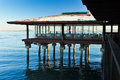 Restaurant on pilings over san francisco bay a sausalito resturant with Royalty Free Stock Photography