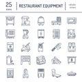 Restaurant professional equipment line icons. Kitchen tools, mixer, blender, fryer, food processor, refrigerator Royalty Free Stock Photo