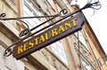 Restaurant sign in Prague city Royalty Free Stock Photo
