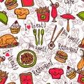 Restaurant symbols seamless pattern doodle sketch cafe bar fast food hamburger chips wrap paper abstract vector illustration Stock Images
