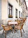 Restaurant table and chairs at a in italy Royalty Free Stock Photo