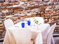 Restaurant table patio italy Stock Photo