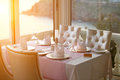 Restaurant table photo of a in sunset Royalty Free Stock Photography