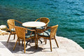 Restaurant tables mediterranean sea summer Stock Photo