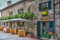 Restaurant tables in Moteriggioni Royalty Free Stock Photo