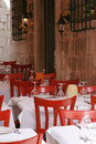 Restaurant tables in old town of dubrovnik Stock Images